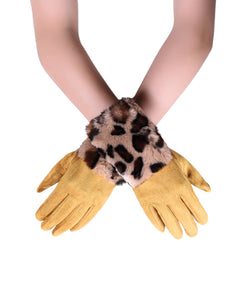 Faux Fur Leopard Print Touch-Screen Gloves