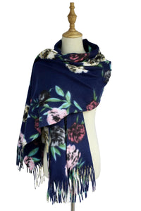 Rose Floral Print Soft Tassel Scarf - Fashion Scarf World