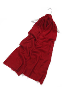 Plain Colour Pure Cashmere Scarf - Red - Fashion Scarf World