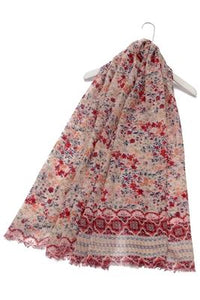 Wild Flower Field Print Frayed Scarf - Fashion Scarf World