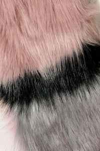 Stripe Long Faux Fur Collar - Pink - Fashion Scarf World