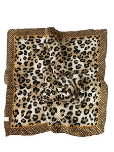 Leopard Print & Polka Dot Border Pleated Square Scarf - Fashion Scarf World