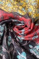 Colour Block Ivy Print Frayed Scarf