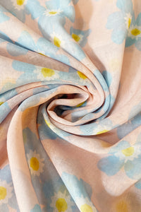 Forget Me Not Flower Print Frayed Scarf - Fashion Scarf World