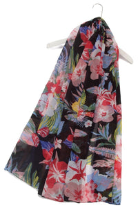 Tropical Hibiscus Print Scarf - Fashion Scarf World