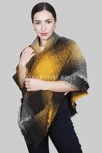 Boucle Style Check Frayed Square Scarf