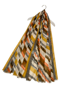 Fun Diagonal Stripe Print Frayed Scarf