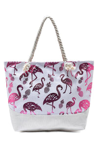 Foiled Flamingo Print Beach Bag - Fashion Scarf World
