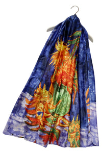 Van Gogh Sunflower Print Silk Scarf - Fashion Scarf World