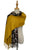 Block Colour Leopard Print Wool Tassel Edge Scarf