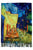 Van Gogh Terrace At Night Print Wool Scarf with Tassel Edge