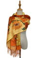 Van Gogh Sunflowers Print Wool Scarf with Tassel Edge