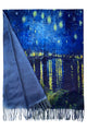 Van Gogh Starry Over The Rhone Wool Scarf with Tassel Edge