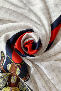 Fashion Bee Print Silk Scarf with Border