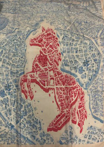 Unicorn Horse and Buildings Map Print Scarf