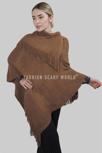 Plain Layered Tassel Knit Poncho - Fashion Scarf World