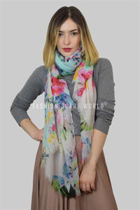Tropical Scattered Floral Print Scarf - Fashion Scarf World