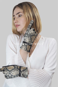 Snakeskin Print & Buckle Touch-Screen Gloves - Fashion Scarf World