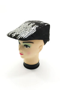 Stripy Newboy Sequins Hat - Fashion Scarf World