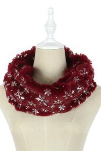Foiled Snowflake Soft Twist Snood - Fashion Scarf World
