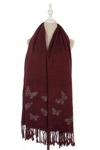 Crystal Butterfly Tassel Scarf - Fashion Scarf World
