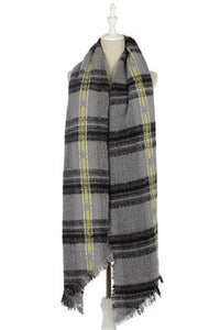 Tartan & Star Print Frayed Scarf - Fashion Scarf World