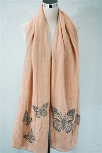 Diamante Butterfly Print Wool Scarf - Fashion Scarf World