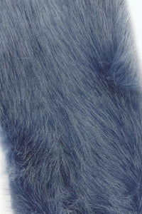 Plain Faux Fur Pull Through Scarf B - Denim - Fashion Scarf World