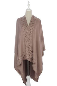 Square Stud Trim Cape - Fashion Scarf World