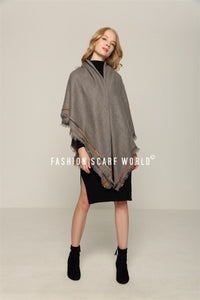 Colour Stitched Edge Square Frayed Scarf - Fashion Scarf World