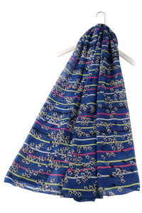 Multi Stripe & Star Printed Scarf - Fashion Scarf World