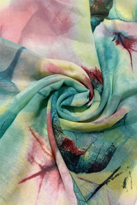 Watercolour Leaf Print Chiffon Scarf - Fashion Scarf World