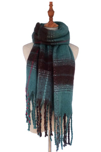 Sequin Thread Check Tassel Blanket Wrap - Fashion Scarf World