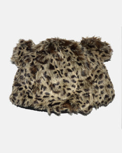 Leopard Print Faux Fur Hat - Fashion Scarf World