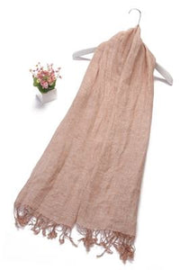 Plain Tassel Linen Scarf - Fashion Scarf World