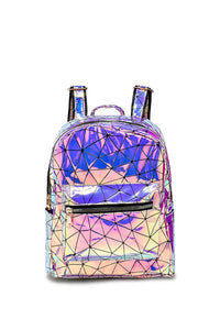 Holographic Geo Print Backpack - Fashion Scarf World