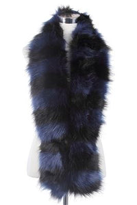 Long Multi Colour Faux Fur Collar - Black/Navy - Fashion Scarf World