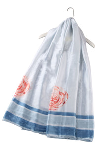 Simple Rose Print Silk Scarf - Fashion Scarf World