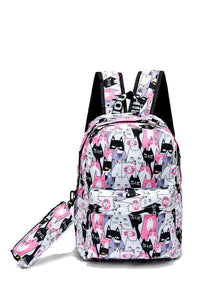 Cat Face Backpack With Pencil Case - Fashion Scarf World