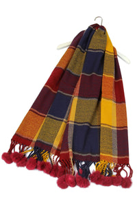 Tartan Print Pom Pom Blanket Wrap - Fashion Scarf World