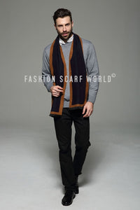 Simple Border Print Frayed Men Scarf - Fashion Scarf World