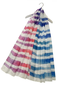Rainbow Stripe Watercolour Print Scarf