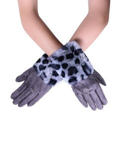 Faux Fur Leopard Print Touch-Screen Gloves - Fashion Scarf World