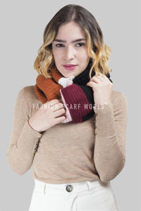 Colour Block Stripe Knitted Snood - Fashion Scarf World