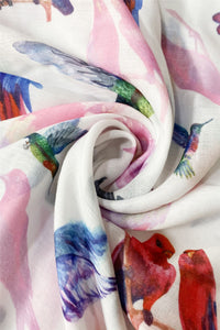 Parrot & Hummingbird Animal Print Frayed Scarf - Fashion Scarf World