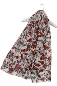 Marigold Flower Print Frayed Scarf - Fashion Scarf World