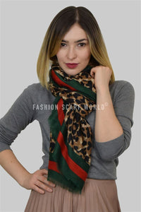 Leopard Print Frayed Scarf With Green and Red Border - Fashion Scarf World