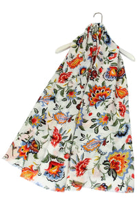 Colourful Mixed Flowers Frayed Scarf - Fashion Scarf World