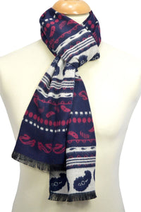 Reversible Paisley Print Frayed Silk Men's Scarf - Fashion Scarf World