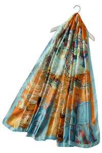 Abstract Painted Scenes Print Silk Scarf